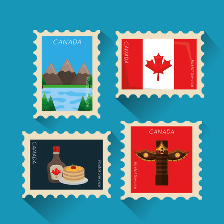 postage stamp canadian collection image vector illustration Иллюстрация