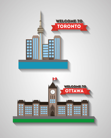 welcome ottawa and toronto canadian cities architecture vector illustration