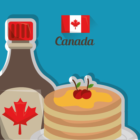 traditional food canadian pancake and maple syrup breakfast vector illustration