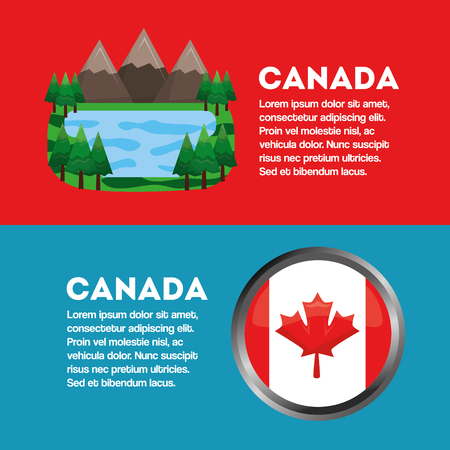 canada banner flag and landscape mountains and lake vector illustration
