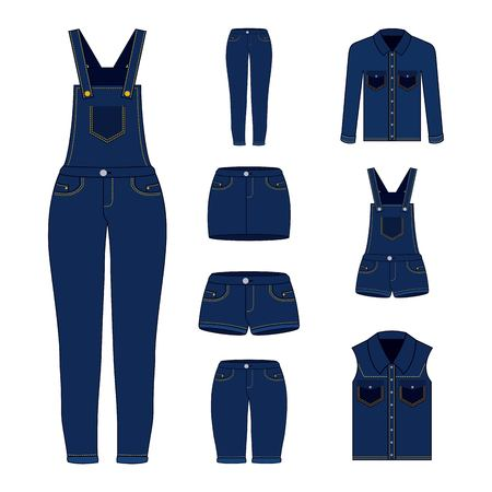 denim women clothes set blue jean shorts overalls skirt jacket and vest vector illustration