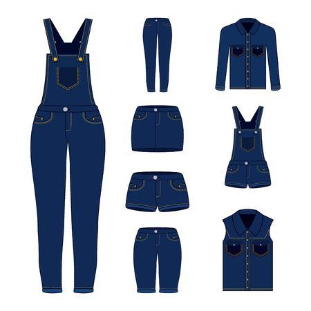 デニム女性の服セットブルージーンズショートパンツオーバーオールスカートジャケットとベストベクターイラスト
