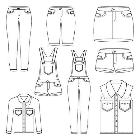 denim women clothes set jean shorts overalls skirt jacket and vest outlined image vector illustration Stock Illustratie