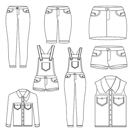 denim women clothes set jean shorts overalls skirt jacket and vest outlined image vector illustration Ilustrace