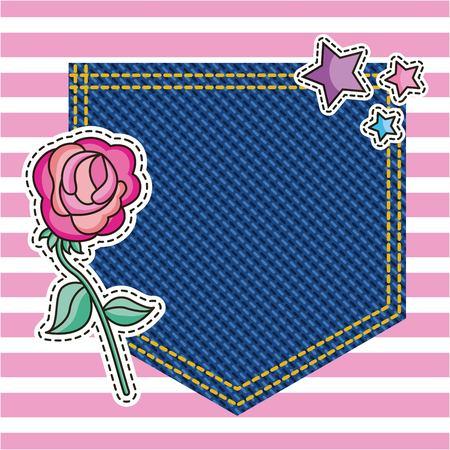 pocket decorative flower on denim texture background vector illustration