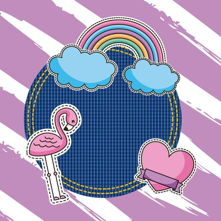 round patch denim and flamingo rainbow love heart patches vector illustration