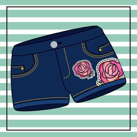 denim shorts roses flower patches with striped background vector illustration