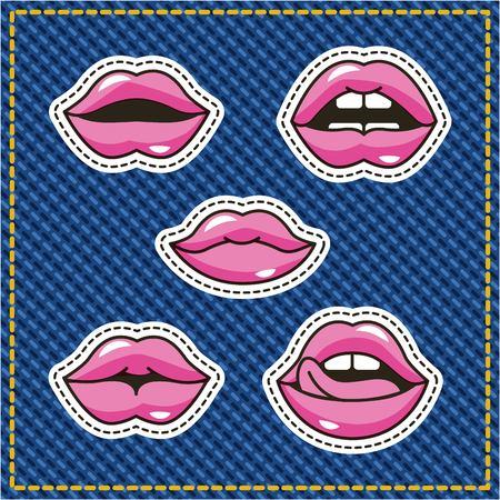 female kiss mouth sensual patch denim background vector illustration Иллюстрация