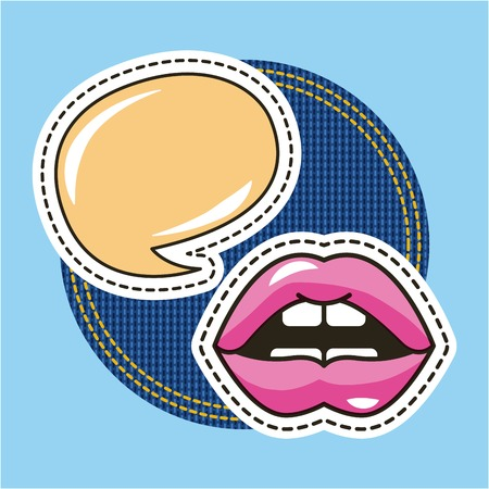 female mouht sensual speech bubble patch vector illustration