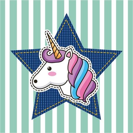 fantastic unicorn and star denim patch decoration fashion vector illustration