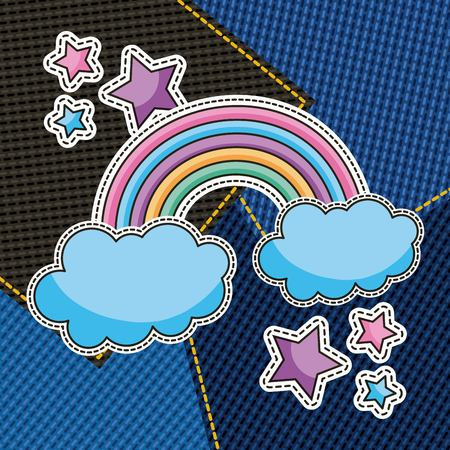 cute rainbow and stars patches with denim squares background vector illustration