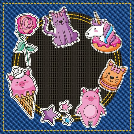 cute piggy cat unicorn flower ice cream patches embroidery denim texture background vector illustration Ilustrace