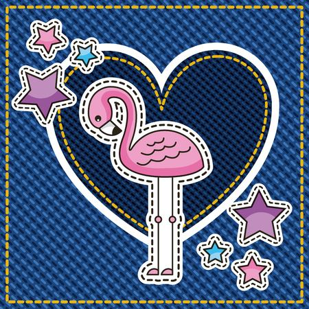 pink flamingo patch stars and denim heart love vector illustration