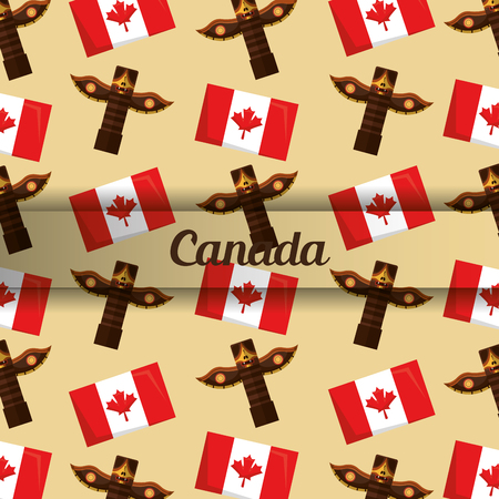 background canadian totem and flag insignia vector illustration
