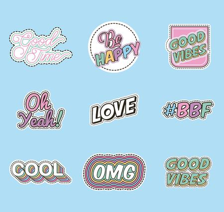 fashion patches words decoration trendy retro vector illustration