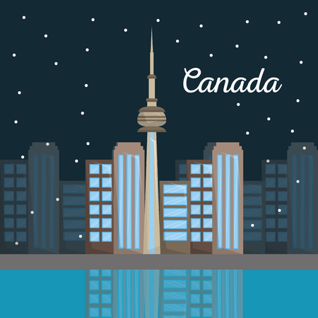 canada toronto city architecture skyline at night vector illustration  イラスト・ベクター素材