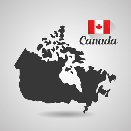 canada country map and flag symbol vector illustration Çizim