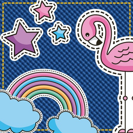 cute patches flamingo rainbow clouds and star on denim vector illustration