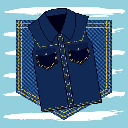 denim vest on pocket jeans texture vector illustration
