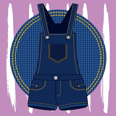 denim overalls dress feminine on patch vector illustration Ilustração