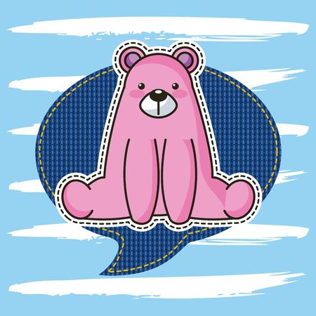 cute patch pink bear sit in denim speech bubble vector illustration