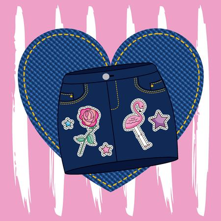 fashion mini skirt denim embroidery flower flamingo on heart patch decoration vector illustration