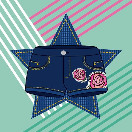 denim shorts lady clothes and flowers embroidery patch vector illustration  イラスト・ベクター素材