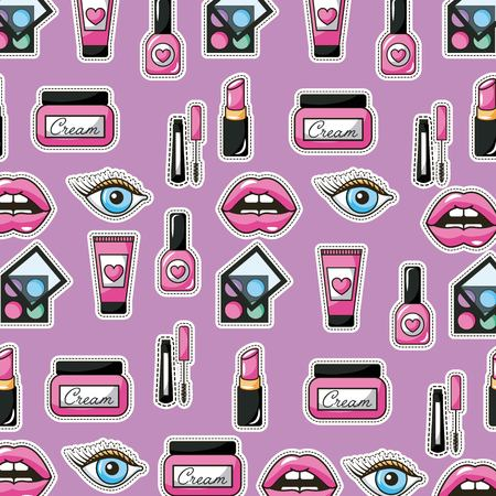 patches pattern make up lips eye cream nail polish textile fashion vector illustration