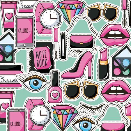 patches fashion feminine make up lips shoe purse watch diamond background vector illustration Archivio Fotografico - 98237832