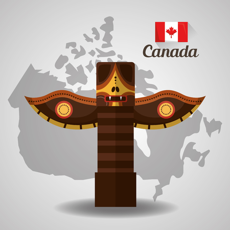 traditional totem canadian on map vector illustration
