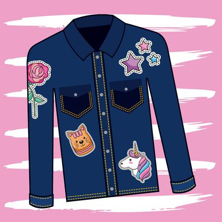 casual denim jacket decorative patches vector illustration Stock Illustratie