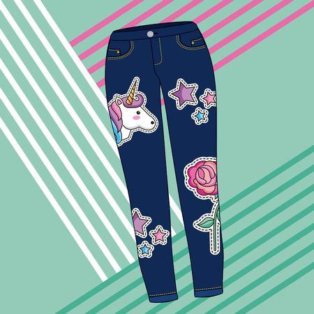 blue jeans women clothes unicorn flower stars embroidery vector illustration Иллюстрация