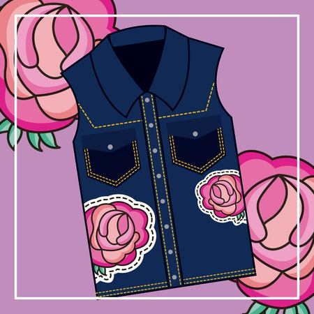 denim vest feminine textile classic flowers embroidery on roses background vector illustration