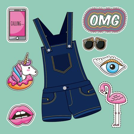 patches fashion overalls clothes image vector illustration Stock Illustratie