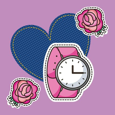 patches watch and flower roses heart fashion vector illustration Ilustração