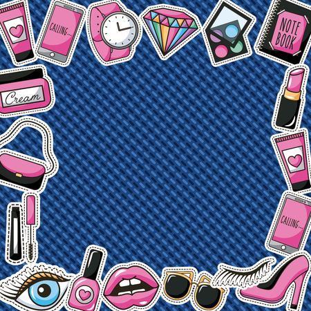 Patches Mode Make-up Lippen Sonnenbrillen Uhr Mini Denim Hintergrund Vektor-Illustration Standard-Bild - 98237866