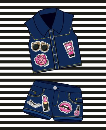 Patches mode denim shorts en vest vrouwelijke vectorillustratie Stockfoto - 98237867