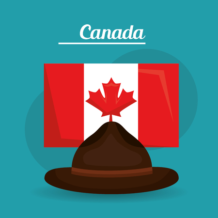 hat policeman flag canadian symbol vector illustration