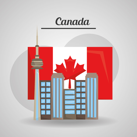 city toronto canada flag american country vector illustration