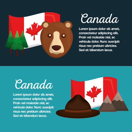canada banners flag bear hat mountain pine tree vector illustration  イラスト・ベクター素材