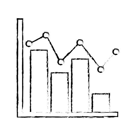 statistic bar graph pointed line strategic scheme vector illustration sketch design