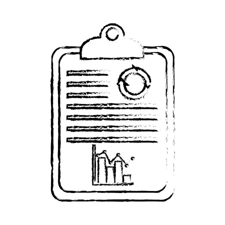 business clipboard bar graph statistics financial report vector illustration sketch design