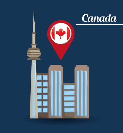 toronto city buildings architectute pointer map flag vector illustration