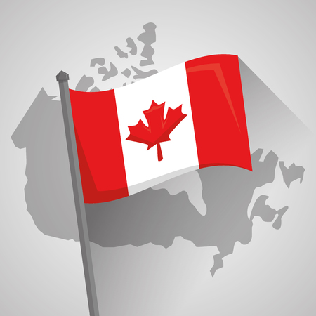 flag canadian country map geography location vector illustration Illustration