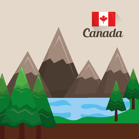 landscape canadian mountains lake pine tree vector illustration