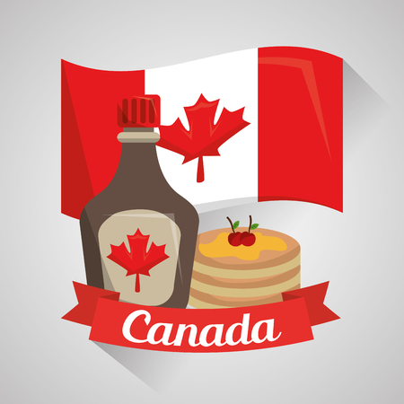 canada country food pancakes maple syrup flag national vector illustration 向量圖像