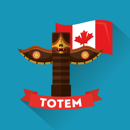 ancient totem canadian traditional culture folklore vector illustration Иллюстрация