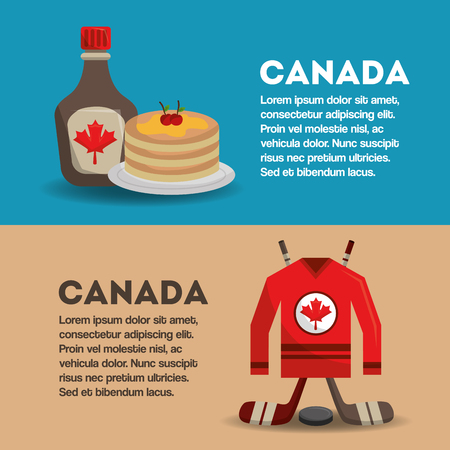 canadian banners sport ice hockey and food pancake maple syrup vector illustration