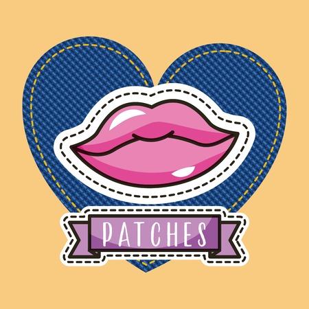 patches lips female heart denim vector illustration