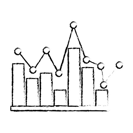 statistics bar graph pointed line design vector illustration sketch design